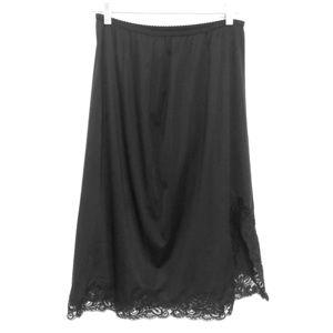 Vintage Black Lace Slip Skirt with Slit, Size L